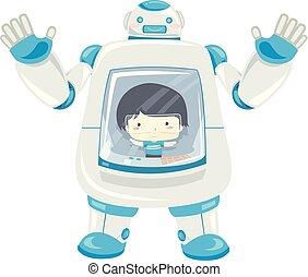 contrôle, garçon, robot, illustration, gosse