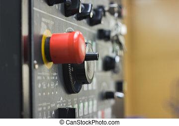 contrôle, gestion, éloigné, puissance, panneau, Énergie,  -, système, industriel, Sécurité, bouton, rouges