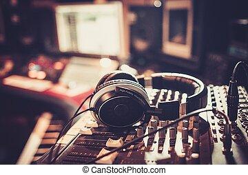 contrôle, gros plan, boutique, enregistrement, desk., studio
