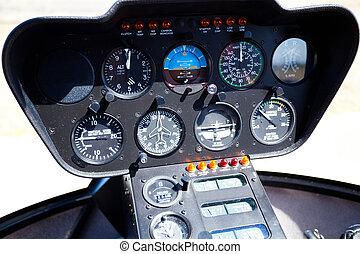 contrôle, hélicoptère, tableau bord