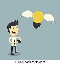 contrôle, homme affaires, concept, lightbulb, idées
