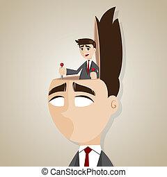 contrôle, homme affaires, tête, dessin animé