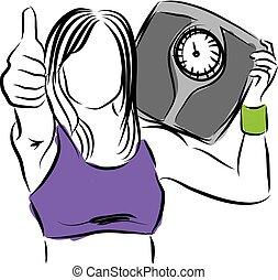 contrôle, illust, femme, poids, reussite