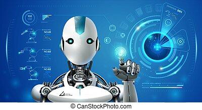 contrôle, industriel, moniteur, ai, intelligence, robot, artificiel, lerning, interface, technologie, hologramme, intelligent, 4.0