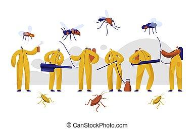 contrôle, insecticide, uniforme, set., caractère, baston, chimique, toxique, fumigation, plat, cafard, insecte, protection, illustration, dessin animé, homme, spray., vecteur, casse-pieds, moustique, professionnel, embrumer