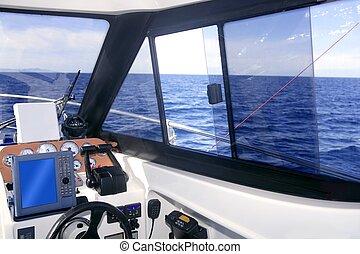 contrôle, instruments, intérieur, bateau, panneau