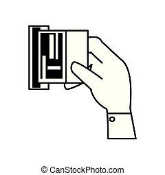 contrôle, isolé, main, machine, temps, icône