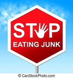 contrôle, jonque, nourriture mangeant, arrêt, jeûne, indique