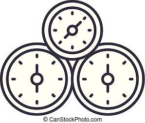contrôle, linéaire, icône, illustration, concept., symbole, vecteur, ligne, signe, panneau