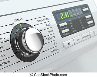 contrôle, machine., lavage, panneau