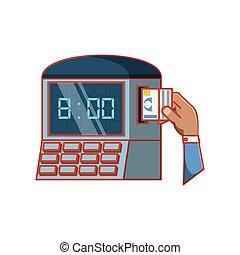 contrôle, machine, main, temps, numérique
