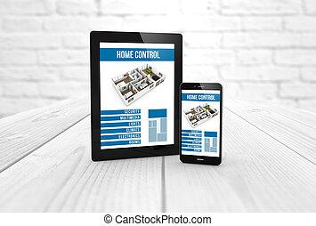 contrôle, maison, smartphone, intelligent, tablette