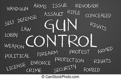 contrôle, mot, fusil, nuage