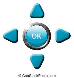contrôle, ok, boutons, flèche, éloigné, navigation