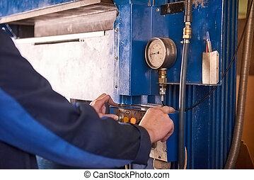 contrôle, ouvrier, panel., mains