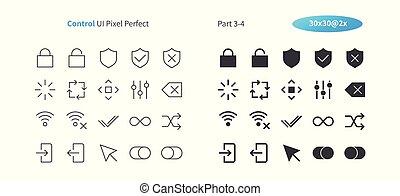 contrôle, parfait, ui, 30, pictogramme, simple, 2x, 3-4, ...