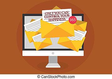 contrôle, photo, informatique, virtual., personnel, écriture, note, seulement, enveloppes, papiers, vous, réception, business, projection, soi-motivation, important, email, inspiration, ton, happiness.., messages, boîte, showcasing