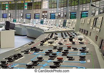 contrôle, plante, salle, production électricité, nucléaire, ...