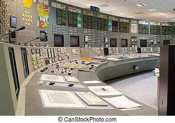 contrôle, plante, salle, production électricité, nucléaire,...