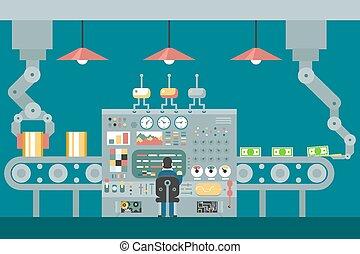 contrôle, plat, concept, manipulators, étude, convoyeur, robot, analyse, production, conception, illustration, devant, homme affaires, développement, travail, panneau