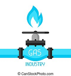 contrôle, plat, valve., industriel, essence, style, illustration