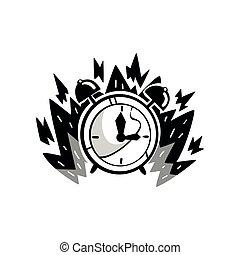 contrôle, ponctualité, horloge, concept, brûler, illustration, date limite, courant, vecteur, fond, temps, blanc dehors