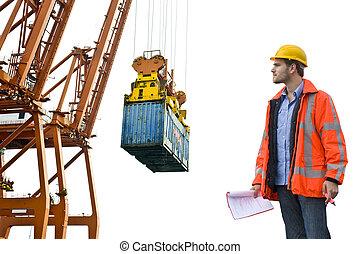 contrôle, port, commercial, inspection, douane
