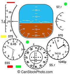contrôle, poste pilotage, avion, panneau