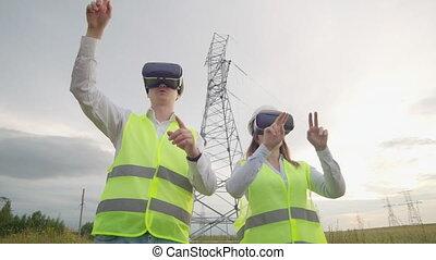 contrôle, power., puissance, ville, énergie, moderne, lignes, deux, réalité virtuelle, sources, a haute tension, sous, utilisation, alternative, ingénieurs