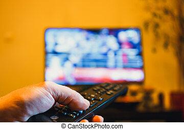 contrôle, presses, éloigné, tv, bouton, possession main