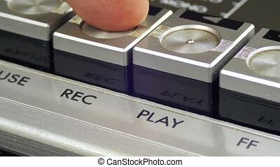 contrôle, presses, enregistrement, boutons, joueur, cassette, doigt, audio