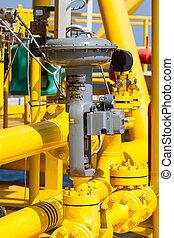 contrôle, proces, soupape gaz, huile