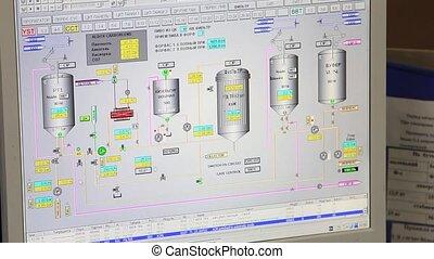 contrôle, processus, bière, usine
