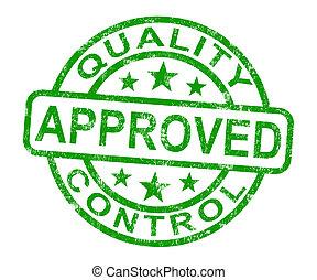 contrôle, produit, timbre, excellent, qualité, approuvé,...