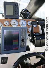contrôle, puissance, fishfinder, traceur, pont, radar,...