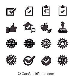 contrôle, qualité, icônes