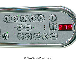contrôle, salle bains, panneau, température