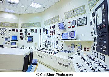 contrôle, station, salle, puissance