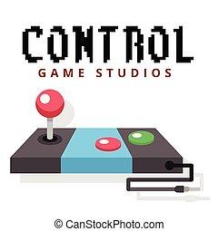 contrôle, studios, image, jeu, vecteur, fond, manche balai
