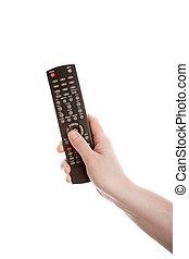 contrôle, télévision éloigné, main