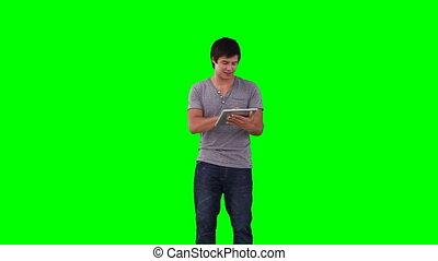 contrôle, tablette, virtuel, utilisation, exposer, homme