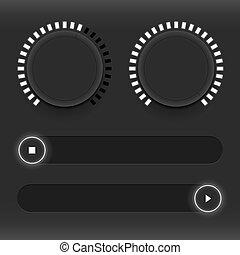 contrôle, toile, ensemble, sliders., son, néon, icons., boutons, sliders, lumineux, utilisateur, interface., blanc, management.