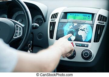 contrôle, utilisation, homme, voiture, panneau