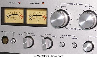 contrôle, vieux, magnétophone, bobine, panneau