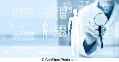 contrôler, docteur, monde médical, moderne, application., virtuel, diagramme, enregistrement, informatique, santé, écran, utilisation, concept.