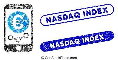contrôler, indice, marché, collage, euro, grunge, mobile, cachets, rectangle, nasdaq