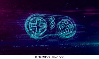 contrôleur, concept, hologramme, gamepad, boucle