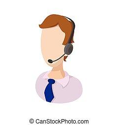 contrôleur, trafic aérien, dessin animé, icône