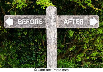 contra, antes, después, señales, direccional