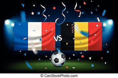 contra, bélgica, día, match., francia